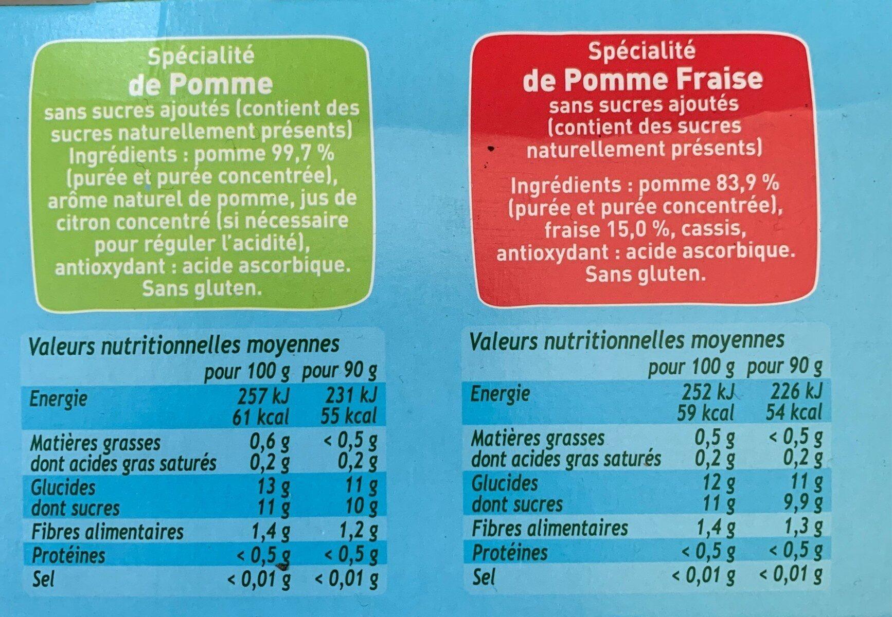 POM'POTES SSA Pomme/Pomme Fraise - Informations nutritionnelles - fr