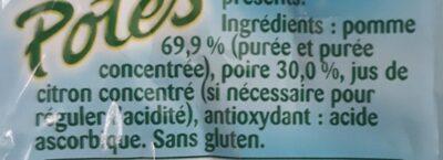 Pom'Potes Pomme Poire Sans sucres ajoutés - Ingredients - fr