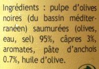 Tapenade aux olives noires - Ingrédients - fr