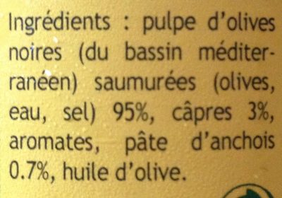 Tapenade aux olives noires - Ingrédients