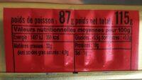Sardines a l'huile d'olive - Informations nutritionnelles - fr