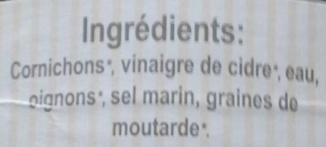 Cornichons au vinaigre de cidre Bio - Ingrédients - fr