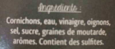 Cornichons aigres doux au vinaigre - Ingrédients