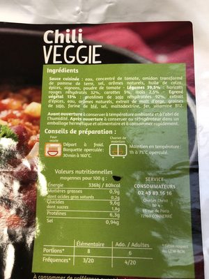 Chili veggi - Ingrédients
