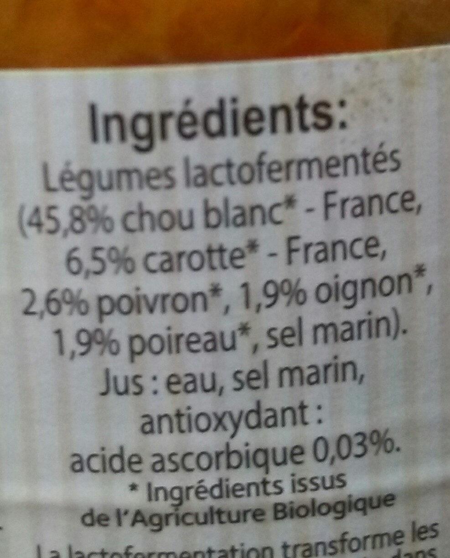 Cocktail de légumes lactofermentés - Ingredients - fr