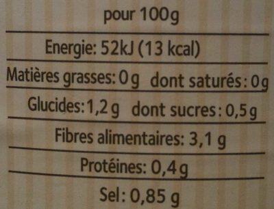 Cocktail de légumes lactofermentés - Nutrition facts - fr