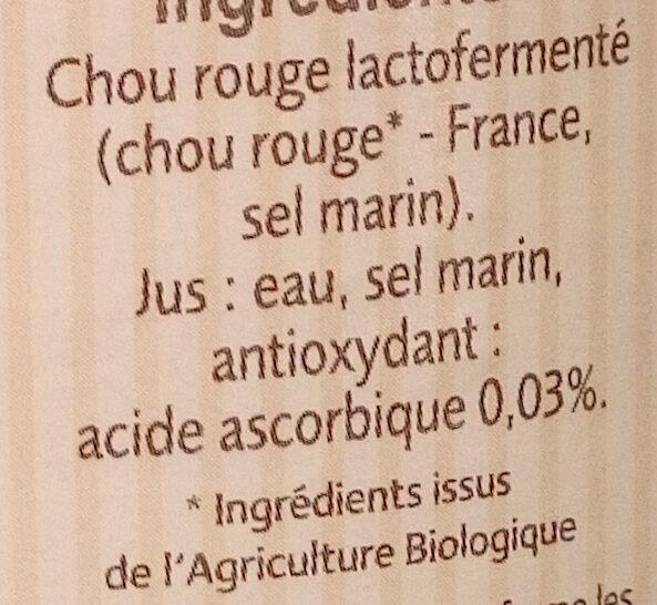 Chou rouge lacto-fermenté BIO Nutriform - Ingredienti - fr