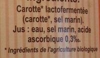 Carotte lacto-fermentée BIO Nutriform - Ingrédients - fr