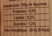 Carotte lacto-fermentée BIO Nutriform - Informations nutritionnelles - fr