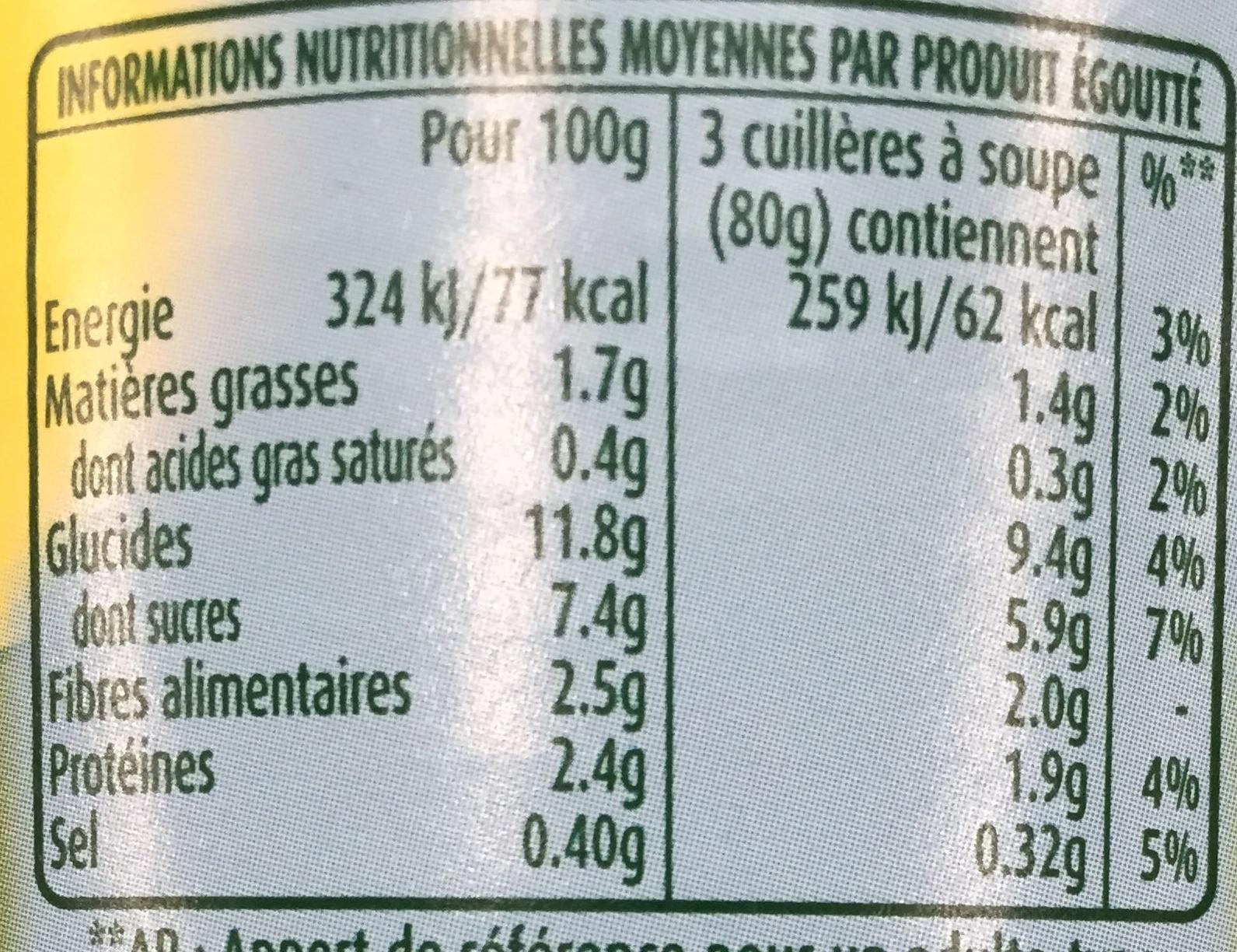Maïs doux en grains extra croquants - Nutrition facts