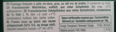 Roquefort - Ingredientes - fr