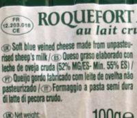 Societe Tranches Roquefort - Ingrédients