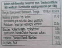 Roquefort - Información nutricional - fr
