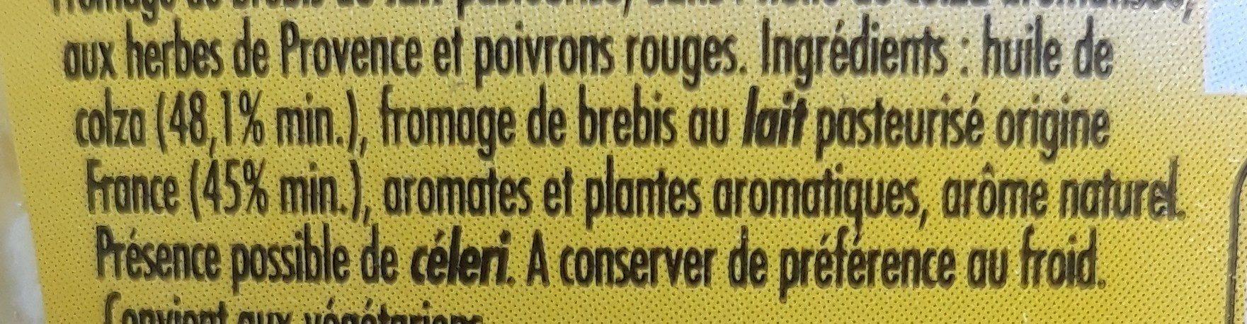 Fromage de brebis, herbes de Provence - Ingrediënten