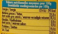 Fromage de brebis, herbes de Provence - Informations nutritionnelles