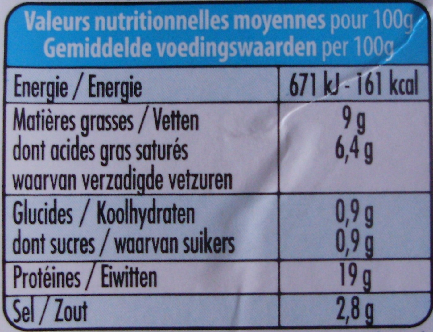 100 % Brebis Léger (9 % MG) - Informations nutritionnelles - fr