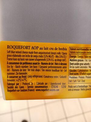 Roquefort AOP Caves baragnaudes - Ingrédients - fr