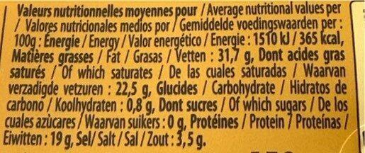 Roquefort AOP Caves Baragnaudes - Informations nutritionnelles - fr
