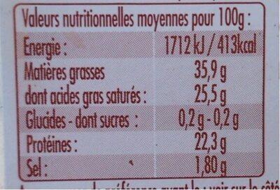 P'tit basque - Informations nutritionnelles - fr