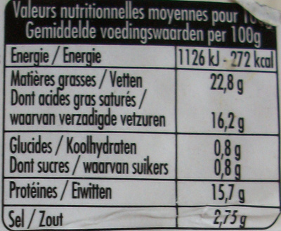 100% brebis - Informations nutritionnelles