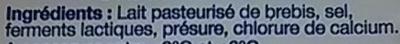 Fromage de Brebis (22% MG) - Ingrediënten