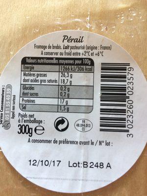 Perail - Ingrediënten