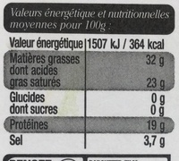 Roquefort au lait cru de brebis (31 % MG) - Voedingswaarden - fr