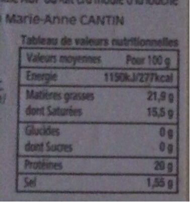 Camenbert de normandie moulage à la main - Nutrition facts - fr