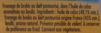 100 % Brebis Basilic - Ingrédients