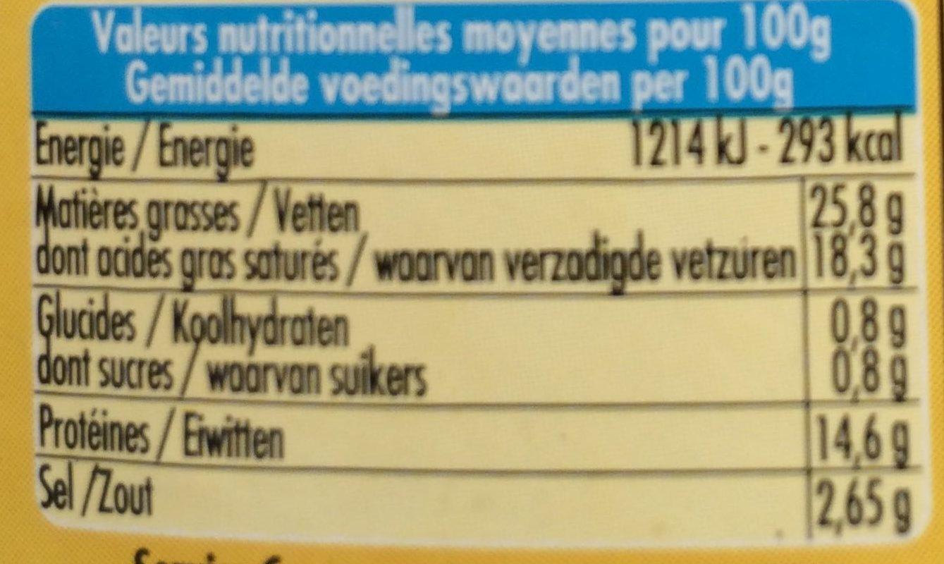 100 % Brebis Basilic - Informations nutritionnelles