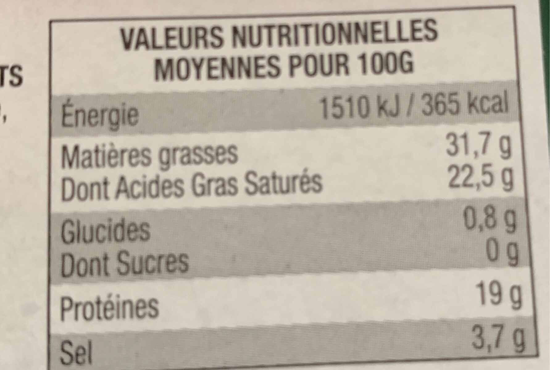 Roquefort AOP - Informations nutritionnelles