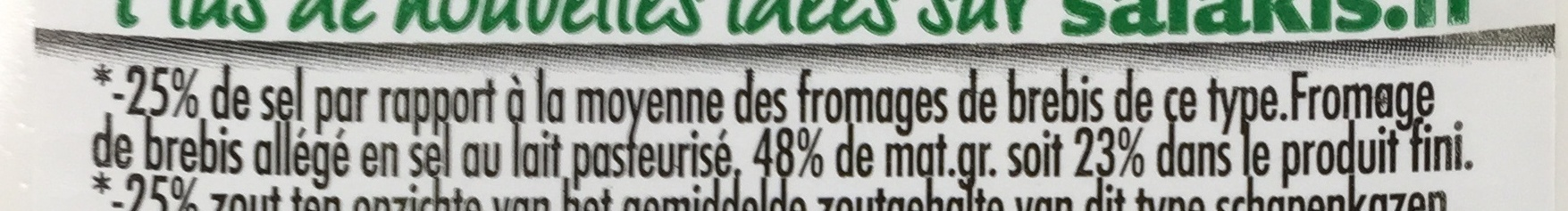 -25% de Sel (23% MG) - Ingredients
