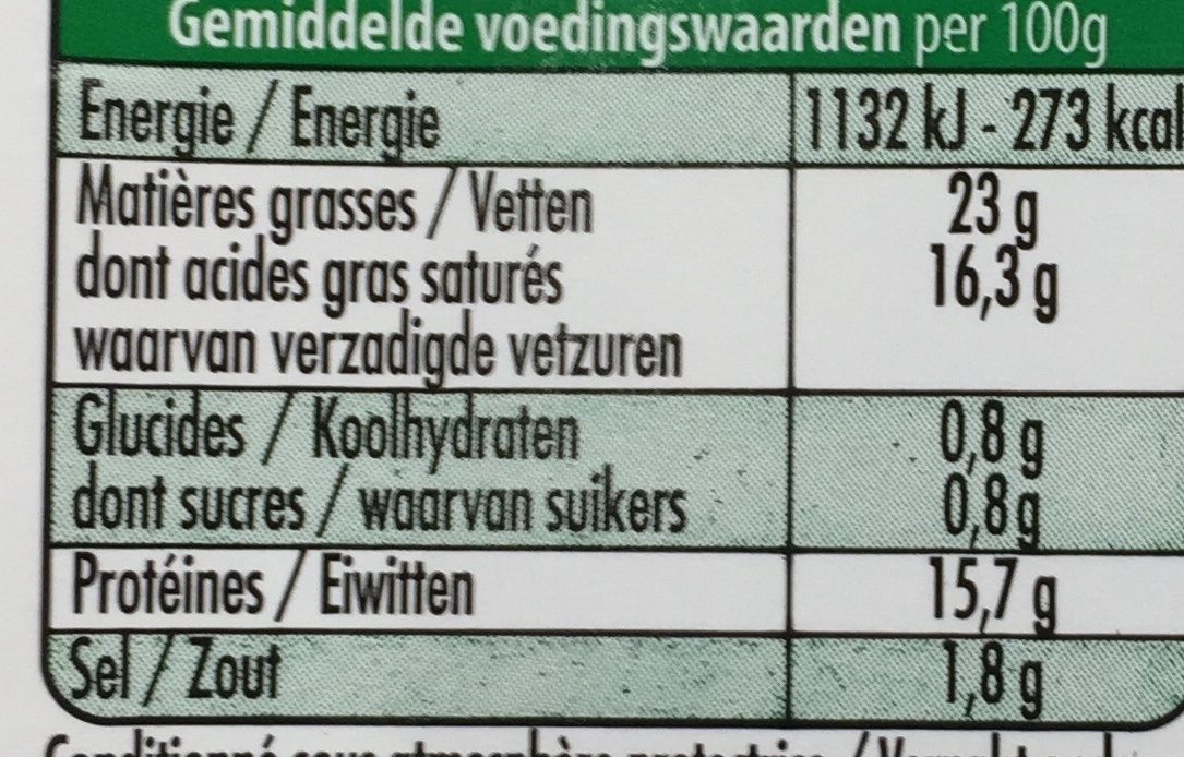 -25% de Sel (23% MG) - Nutrition facts