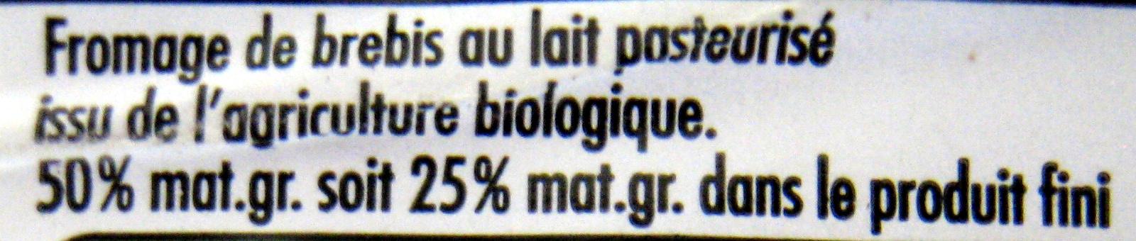 100 % Brebis Bio (25 % MG) - Ingredients - fr