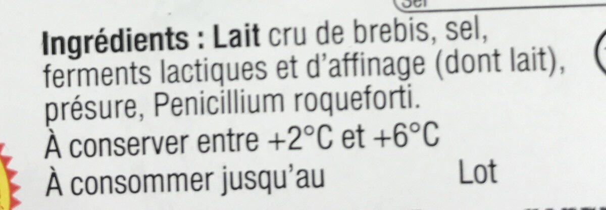 Roquefort au lait cru de brebis - Ingredients - fr