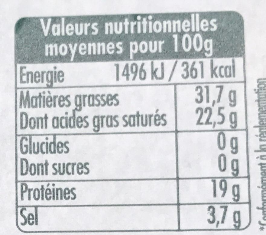 Roquefort AOP (part dégustation) - Informations nutritionnelles - fr