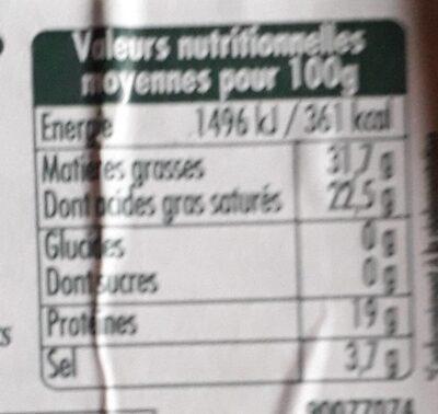 Roquefort AOP (part dégustation) - Voedingswaarden - fr