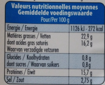 100 % Brebis (22,9 % MG) - Nutrition facts - fr