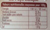La Tomme du Pays-Basque - Voedingswaarden - fr