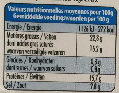 Fromage 100% brebis - 栄養成分表 - fr