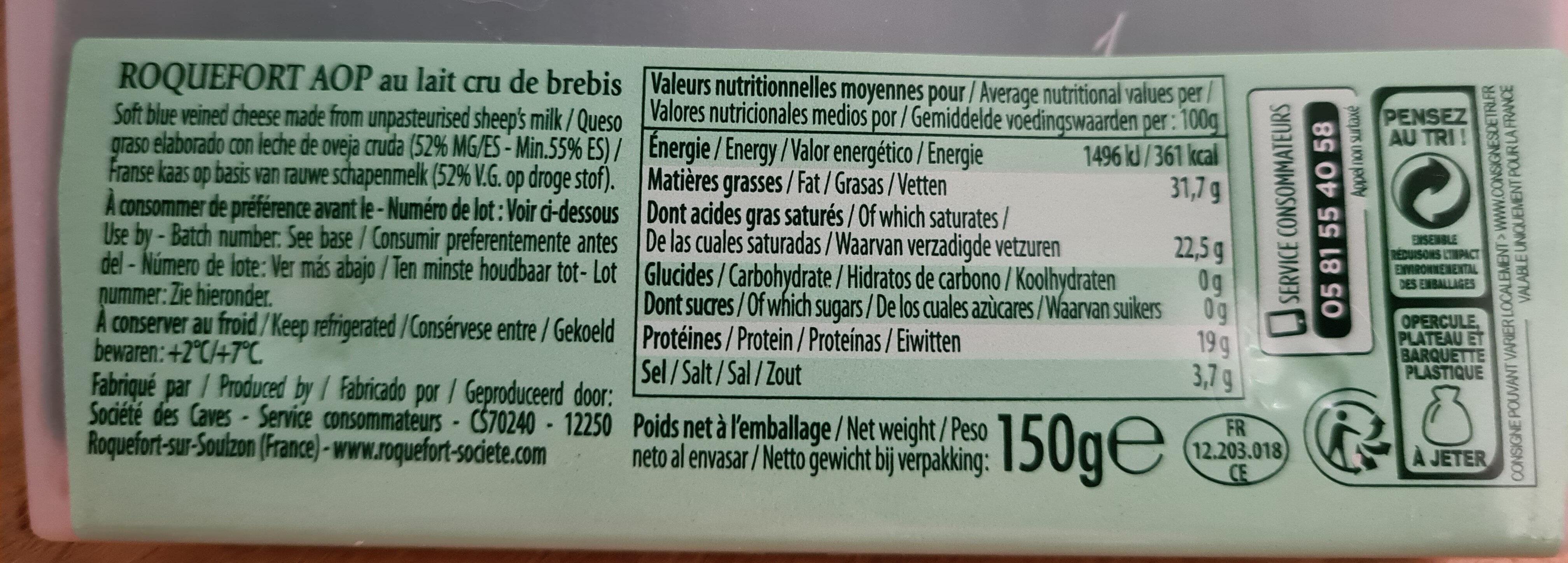 Roquefort Societe - Informations nutritionnelles - fr