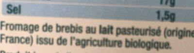 Brique de brebis - Ingrediënten - fr
