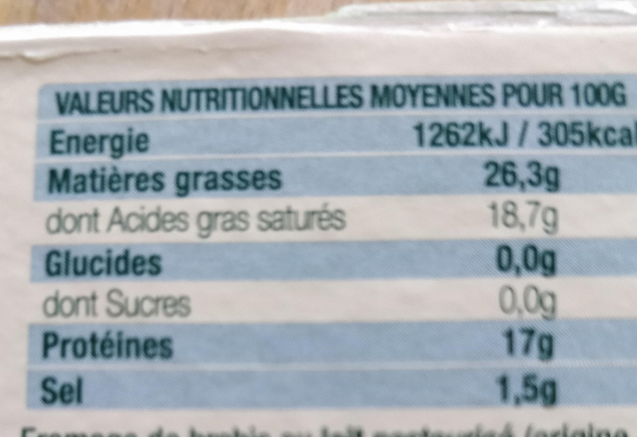 Brique de brebis - Voedingswaarden - fr