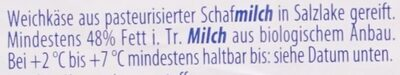 Schafmilch - Zutaten - de