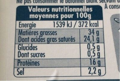 Bleu de brebis - Informations nutritionnelles - fr