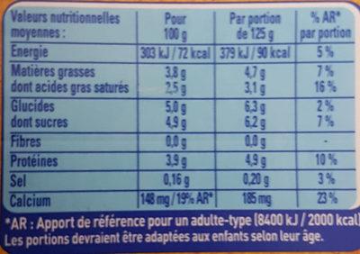 Yaourt nature bio - Nutrition facts
