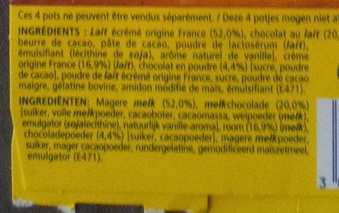 Velours de creme Chocolat au lait 340g - Ingredients