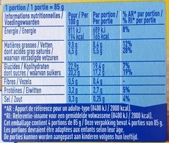 Velours de Crème Chocolat Caramel - Informations nutritionnelles - fr