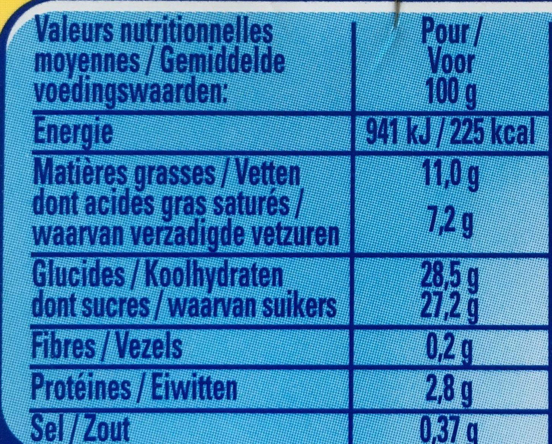 Velour de creme - Voedingswaarden