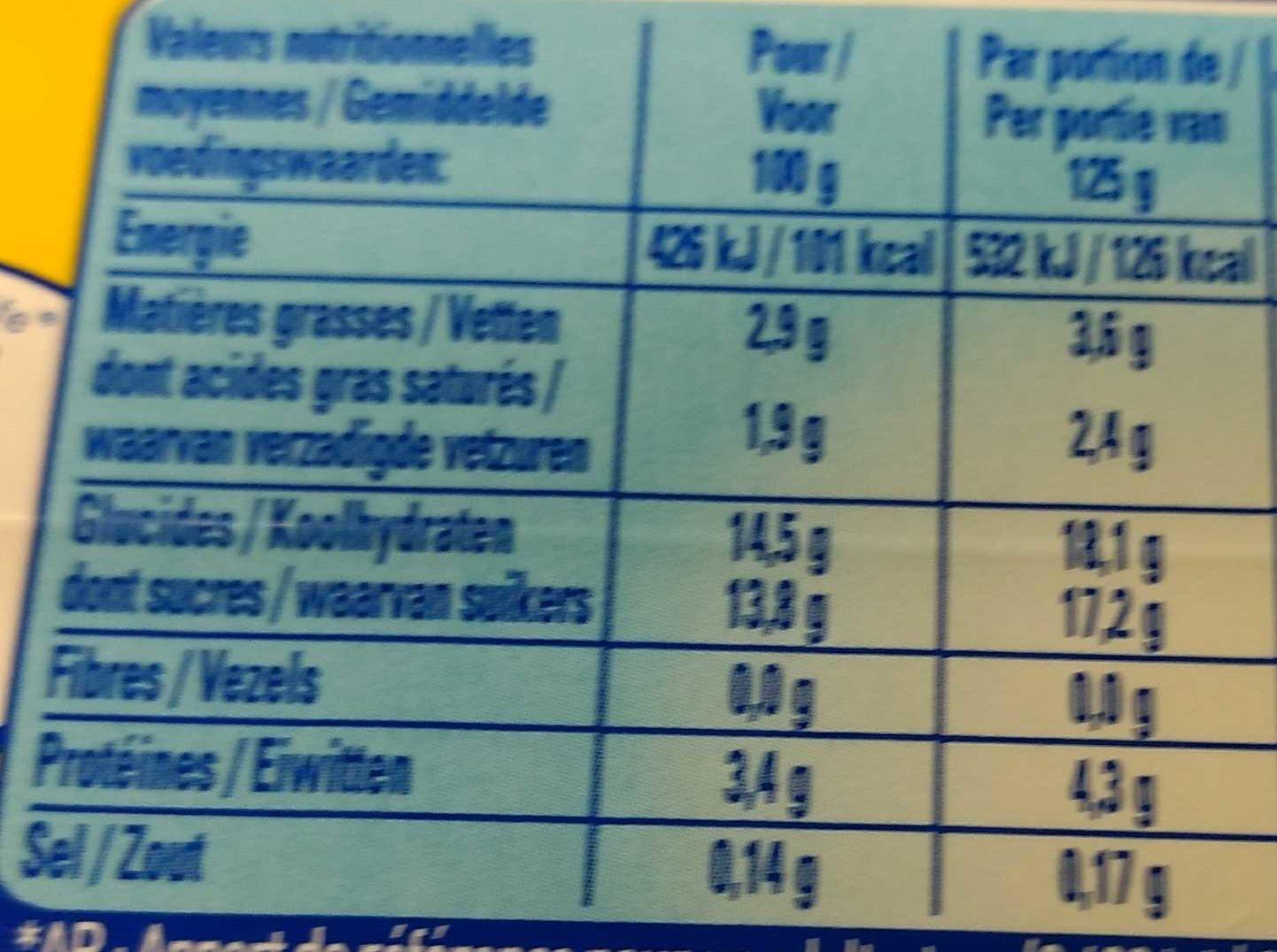 Le Yaourt sur Lit de Framboise - Nutrition facts - fr